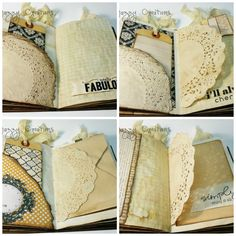 Vintage File Folder Junk Journal. Come with 8 tags that are hand stamped on one side, and pattern paper on the other. All tags have hand dyed