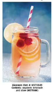 For a fun, fruit drink fill your glass with lemonade, a colorful straw and fruit.