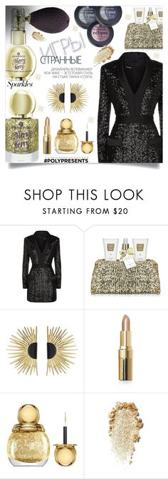 """#PolyPresents: Sparkly Beauty"" by golden-bird-love ❤ liked on Polyvore featuring beauty, Balmain, Baylis & Harding, Hedi Slimane, Aurélie Bidermann, Bobbi Brown Cosmetics, Christian Dior, contestentry and polyPresents"