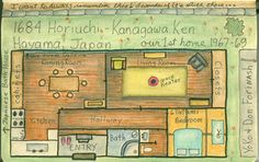 Cute little Japanese house layout, contains many traditional features in a compact, practical space.  I can walk through this house in my mind's eye...