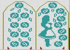 Tricksy Knitter Charts: Alice in Wonderland (Alice) by heatherpouliot Knitted Mittens Pattern, Knit Mittens, Knitting Socks, Knitting Charts, Knitting Patterns, Image Chart, Alice In Wonderland, Needlework, Knit Crochet