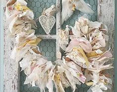 Garland, Burlap and Lace Banner, Shabby Chic Garland, Fabric Garland, Rustic Wedding, Woodland Nursery, Soft Pastel Banner, Farmhouse Decor