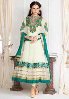 Off White Faux Georgette Anarkali Churidar Kameez Online Shopping: KZR270
