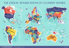 The literal translation of country names. The literal translation of country names. Name Of All Countries, Countries Around The World, Around The Worlds, List Of Countries, Socotra, Heiliges Land, Word Map, Names With Meaning, Grand Tour