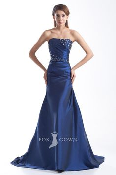 Navy Blue Satin Strapless Trumpet Floor Length Beaded Pleated Bodice Evening Formal Dress