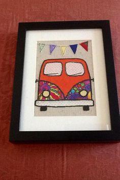 VW camper van framed art