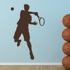 Tennis Player Wall Sticker Sport Wall Decal Art available in 5 Sizes and 25 Colours by IconWallStickers, http://www.amazon.co.uk/dp/B00IH290WM/ref=cm_sw_r_pi_dp_bzhstb044QBTB