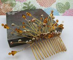 Autumn Foliage Bridal Hair Comb, Fall palette, freshwater pearls, Swarovski crystal, hair accessory, wedding, bride - reynared reynared by ReynaRed on Etsy