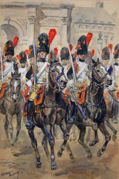 NAP- France: French Grenadiers à cheval, by Maurice Toussaint. Empire, Military Art, Military History, Dragons, Spanish War, Battle Of Waterloo, Figure Sketching, Black Horses, French Army