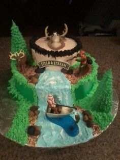 hunting and fishing grooms cake I made for my girl friend wedding By twohalfcakes81 on CakeCentral.com