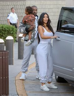 What a coordinated family: The Keeping Up With The Kardashians star hit the pavement in the new Yeezy Calabasas Powerhouse sneakers