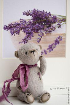 Мишки Тедди ручной работы: Лиловое сердечко. Handmade.