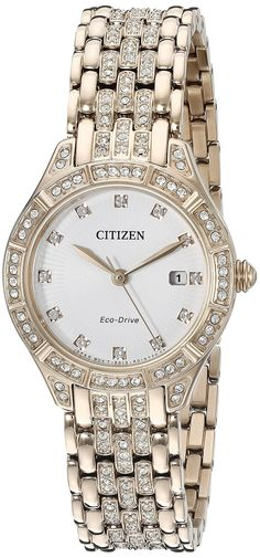 Citizen Eco-Drive Women's 'Silhouette' Quartz Stainless Steel Casual Watch, Color: Rose Gold-Toned (Model: EW2323-57A) *** You can find out more details at the link of the image.