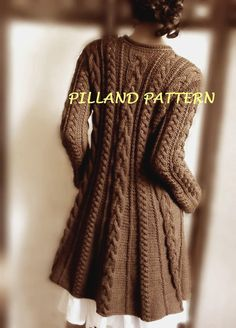 Cable Knit Coat Sweater PDF Knitting Pattern Aran knit coat pattern Digital Download pattern in ENGLISH ONLY