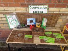 Observation station, observe mini beasts, plants, herbs with magnifying glasses… Year 1 Classroom, Eyfs Classroom, Outdoor Classroom, Outdoor School, Classroom Ideas, Outdoor Areas, Outdoor Play, Eyfs Outdoor Area Ideas, Outdoor Learning