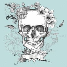 Skull and Flowers Day of The Dead (Vector EPS, CS, abstract, black, bone, day, dead, death, drawn, fashion, floral, flower, gothic, graphic, grunge, halloween, head, horror, illustration, mexican, pattern, retro, rose, sign, skeleton, sketch, skull, sugar, symbol, tattoo, vintage, watercolor)
