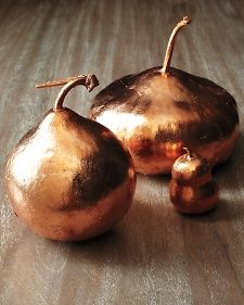 Upgrade a fall gourd to create an inexpensive Thanksgiving table centerpiece. Copper gourd tutorial.