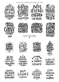 coffee quotes Coffee lettering set by NinaFedorova on creativemarket Calligraphy Quotes Doodles, Brush Lettering Quotes, Hand Drawn Lettering, Creative Lettering, Stencil Lettering, Lettering Design, Inspirational Coffee Quotes, Coffee Icon, Coffee Coffee