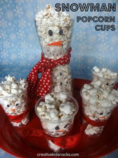 Snowman Popcorn Cups - fun for kids to have during the movie at the Christmas party