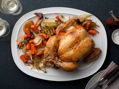 No. 40: Ina's Perfect Roast Chicken : Roast chicken makes a simple yet elegant meal. Ina makes sure to salt the chicken liberally before cooking so it's not bland, then she trusses the legs so it cooks evenly.