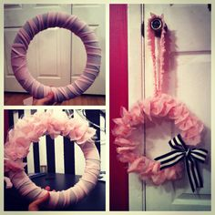 Ruffle wreath for a new baby girl. Pink! My fingers hurt so much after making this.