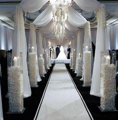 Glamorous modern wedding... im loving the aisle set up like this !! Wedding Aisle Style, Wedding Aisles, Wedding Ceremony Decorations, Wedding Blog, Wedding Events, Wedding Themes, Wedding Altars, David Tutera, Wedding Planning
