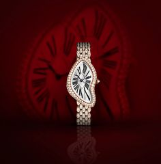 "#Cartier's stunning Crash Watch is paved with brilliant-cut diamonds and cased in 18-Carat pink gold.   Would you wear this asymmetrical design reminiscent of Salvador Dali's painting, ""The Persistence of Memory""?"