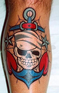 Sailor Skull Tattoo...this is such a great tattoo, someone really packed that color in!