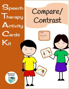Speech Therapy Activity Cards Kit (STACK): Compare/Contrast72 Different Compare/Contrast Cards / 72 Simple Answer CardsComparing and Contrasting is an important language skill. Students must describe the relationship between two items with words.**Use STACK: Compare/Contrast Cards in a variety of waysHave students compare the two pictures and state how they are the sameHave students contrast the two items and state how they are differentTeach how to compare and contrast with the cue cards…