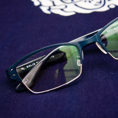 Solid Blue eyewear designed and made in Japan.