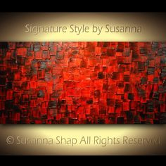 Original Large Abstract Fine Art on Canvas Textured Red Modern Palette Knife Painting Ready to Hang 48x24 by Susanna. $345.00, via Etsy.