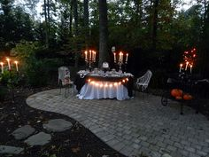 Spooky outdoor Halloween dinner