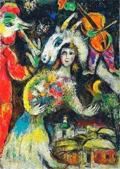 (Belarus) Winter 1966 by Marc Zaharovich Chagall (1887- 1985). Oil on canvas. Surrealism. born in Belarus.