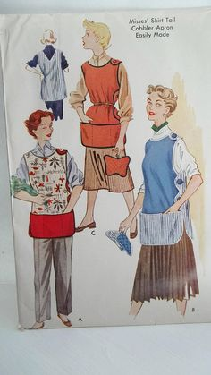 variations on the traditional cobbler apron ! Vintage Original McCall's 1778 Cobbler Apron Shirt-Tail Side Button Pockets Pot Holder Sewing Pattern Size Medium by bizzielizzies on Etsy Sewing Aprons, Mccalls Sewing Patterns, Vintage Sewing Patterns, Apron Patterns, Dress Patterns, Sewing Ideas, Vintage Apron Pattern, Retro Apron, Cobbler Aprons