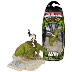 Star Wars Year 2006 Titanium Die Cast Series 3 Inch Long Mini Figure - DEWBACK with Stormtrooper and Display Base