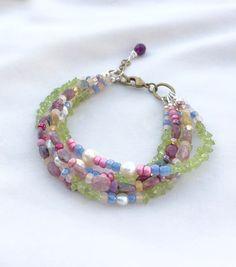 Colorful Bracelet with Tourmaline and by MermaidsBeachJewelry Bracelet Peridot Multistrand Multigemstone Jewelry
