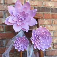 $42 for 3 flowers! Different sizes.   Weddings Large Handmade Paper Flowers In the Colors of your choice