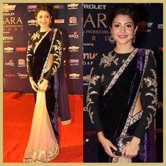 Anushka Sharma in Sabyasachi saree for Apsara Awards 2012, MyFashgram