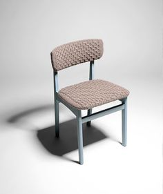 Rose Sharp Jones re-upholsters old furniture with knitted or crochet textiles hand-made to fit each piece.