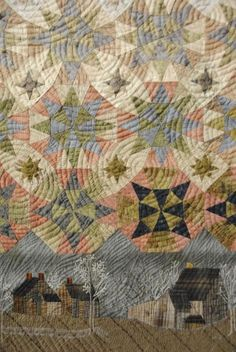 Russian quilt close-up shows overlapping concentric rings of quilting stitches.