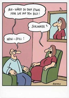 Lustige Postkarte Cartoon von Perscheid – Ach! Wärst Du doch etwas mehr wie auf dem Bild! Postkarten Cartoon