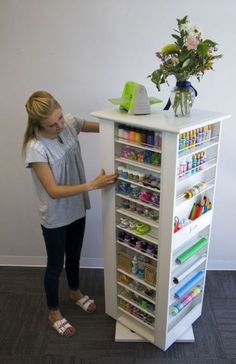 craft area for kids ; craft area in living room ; craft area in bedroom ; craft area in basement Craft Room Storage, Sewing Room Organization, Organization Ideas, Storage Ideas, Paper Storage, Organizing Sewing Rooms, Organizing Drawers, Bobbin Storage, Organizing Crafts