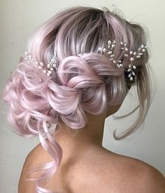 102 Beautiful Wedding Hairstyles And Bridal Hair Ideas Wedding Hair Colors, Wavy Wedding Hair, Braided Hairstyles For Wedding, Pretty Hairstyles, Bridal Hair, Mermaid Hairstyles, Updo Hairstyle, Wedding Updo, Prom Hairstyles