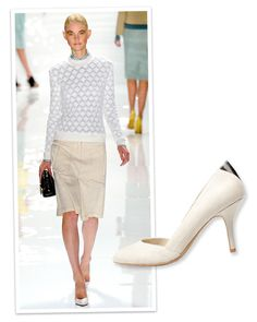 White pump inspiration from #DerekLam and #Zara. http://www.instyle.com/instyle/package/general/photos/0,,20578366_20578081_21133063,00.html