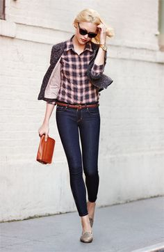 Girly, structured, plaid and a jacket. A good dark wash jean. Camel colored leather accessories. And of course--a watch. Perfect.