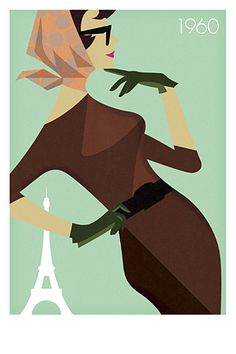 Retro illustrations of fashionable women in Paris by Justin Skeesuck.