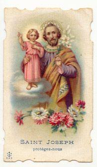 Vintage prayer card - St Joseph protect us