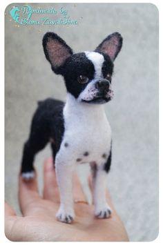 Boston Terrier/ Boston/ Felted toy/ Realistic animal/Needle