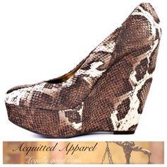 (Carlos Santana) Python Wedge Heel Shoes