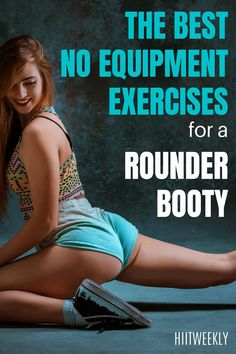 The best 4 exercises for a rounder booty that you can do at home with no equipment needed. With home glute workout. At Home Glute Workout, Hiit Workout Routine, Circuit Training Workouts, Home Exercise Routines, At Home Workout Plan, Toning Workouts, Workout Plans, Glute Kickbacks, Flatter Stomach